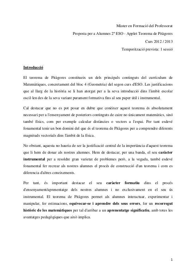 Màster en Formació del Professorat                                Proposta per a Alumnes 2º ESO - Applet Teorema de Pitàgo...