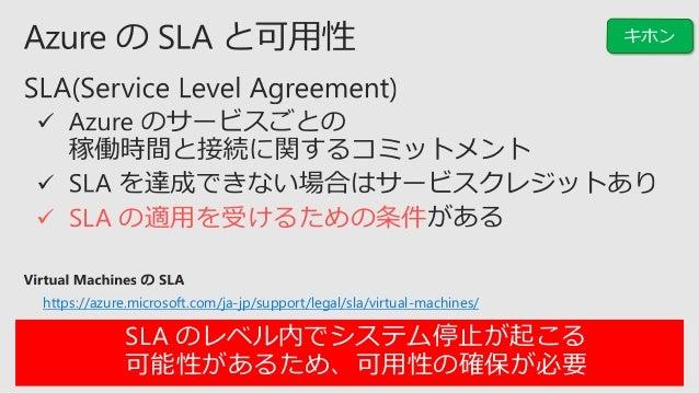 機能、仕様、制約を十分に確認 管理ディスク (Managed Disks) サイジング 継続的  SLA 真の可用性 計画メンテナンス