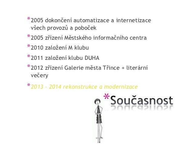 * 2005 dokončení automatizace a internetizace všech provozů a poboček* 2005 zřízení Městského informačního centra* 2010 za...
