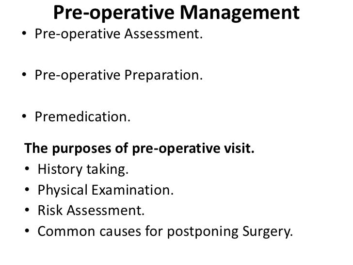 pre operative assessment essay Day case and short stay surgery published by the association of anaesthetists of great britain & ireland the british association of day surgery may 2011 this guideline was originally.