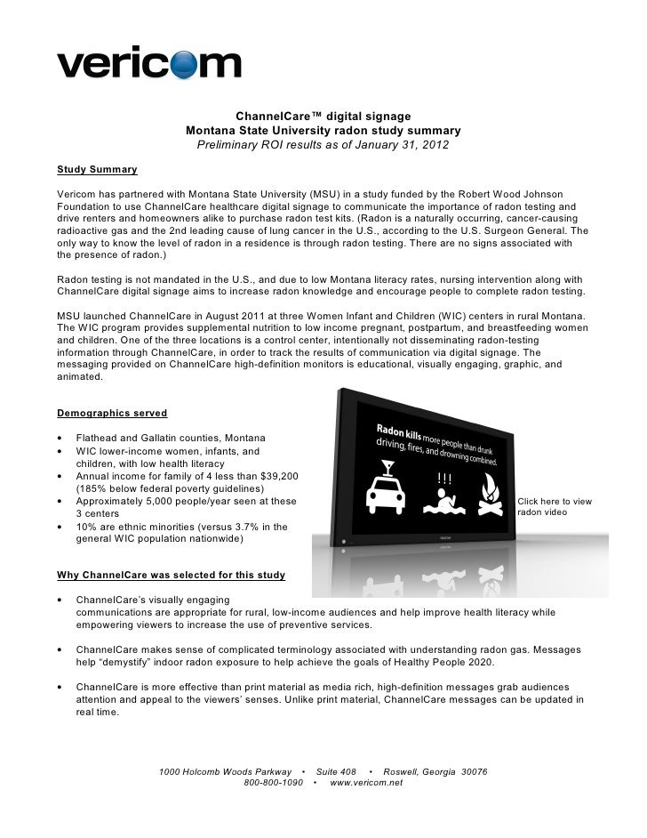 ChannelCare™ digital signage                           Montana State University radon study summary                       ...