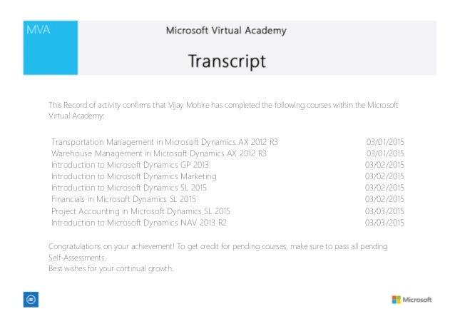 MS Virtual Academy Transcript