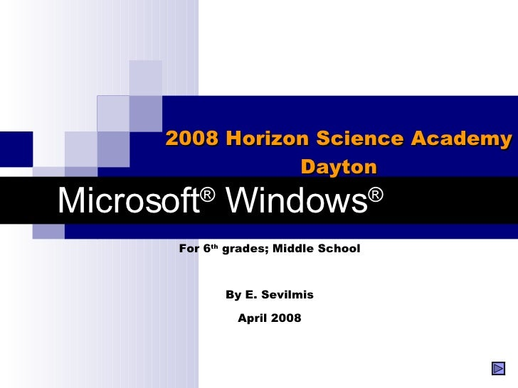 Microsoft ®  Windows ® 2008 Horizon Science Academy Dayton For 6 th  grades; Middle School By E. Sevilmis April 2008