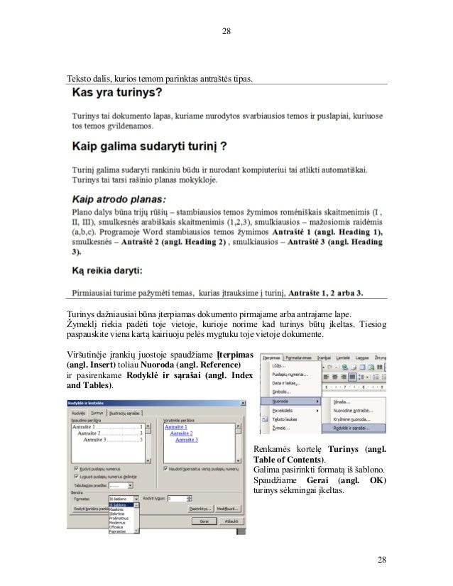 28 28 Teksto dalis, kurios temom parinktas antraštės tipas. Turinys dažniausiai būna įterpiamas dokumento pirmajame arba a...