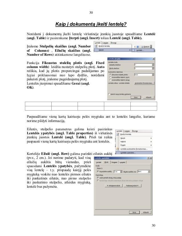 30 30 Kaip į dokumentą įkelti lentelę? Norėdami į dokumentą įkelti lentelę viršutinėje įrankių juostoje spaudžiame Lentelė...