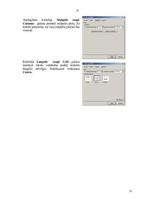 31 31 Analogiškai kortelėje Stulpelis (angl. Column) galima parinkti stulpelio plotį. Jei lentelė pažymėta, tai visų stulp...