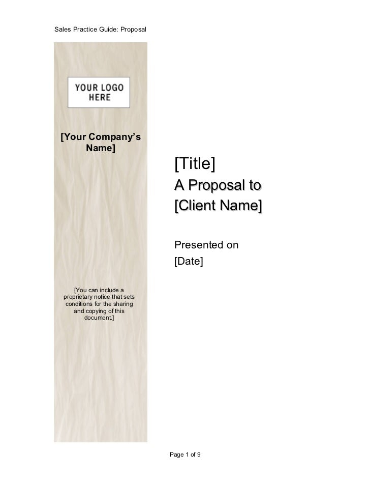 Sales Practice Guide: Proposal  [Your Company's       Name]                                  [Title]                      ...