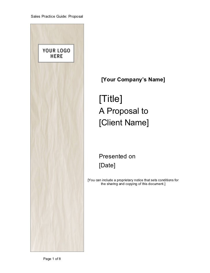 Sales Practice Guide: Proposal                                          [Your Company's Name]                             ...