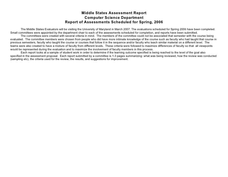 Middle States Assessment Report                                                     Computer Science Department           ...