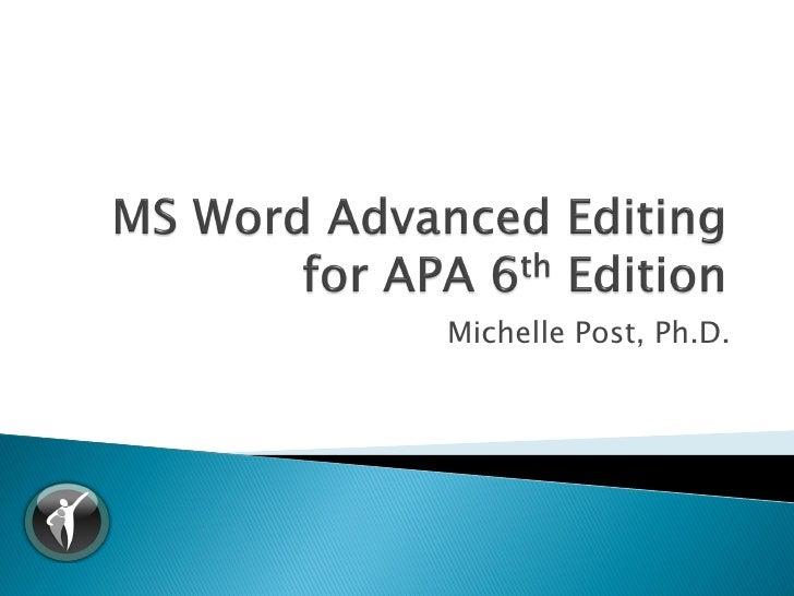 APA 6th Ed - MS Word Advanced Editing v1