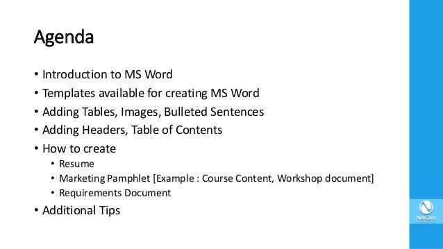 Ms Word Primer