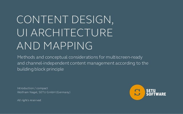 Methods and conceptual considerations for multiscreen-ready and channel-independent content management according to the bu...