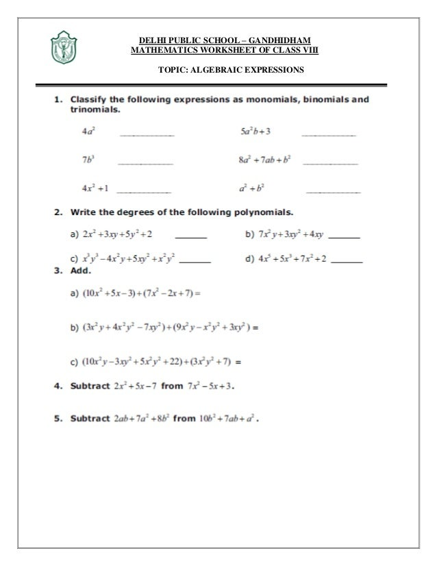 Maths algebraic expression and identities – Algebraic Expressions Worksheet