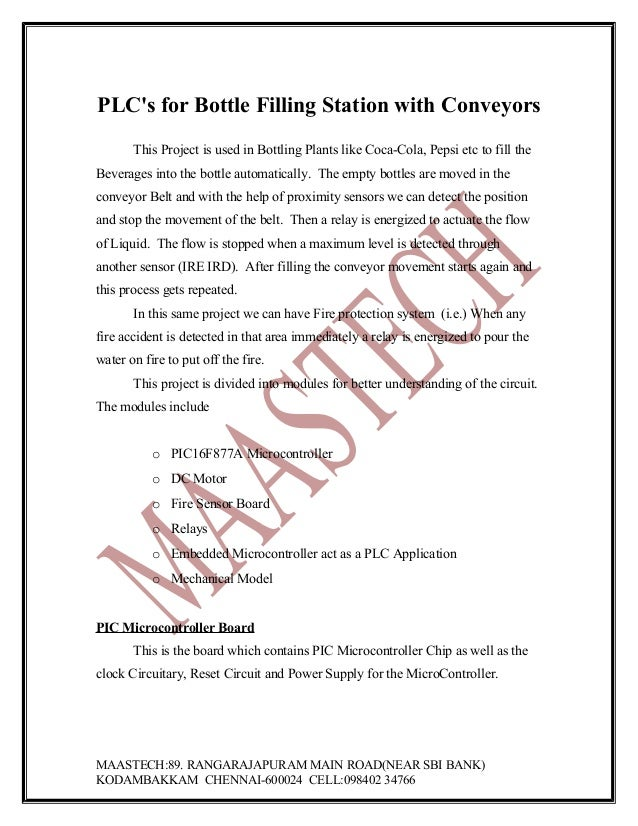 PLC's for Bottle Filling Station with Conveyors This Project is used in Bottling Plants like Coca-Cola, Pepsi etc to fill ...