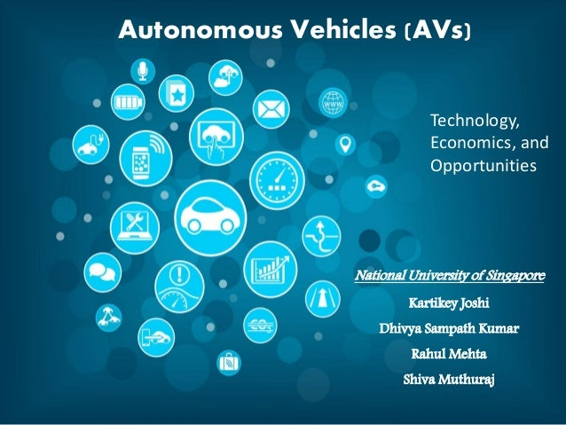 National University of Singapore Kartikey Joshi Dhivya Sampath Kumar Rahul Mehta Shiva Muthuraj Autonomous Vehicles (AVs) ...