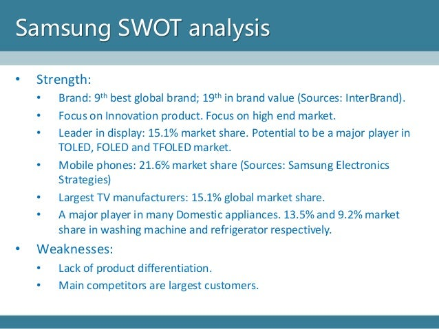 samsung swot analysis What is a swot analysis it is a way of evaluating the strengths, weaknesses, opportunities, and threats that affect something see wikiwealth's swot tutorial for help remember, vote up the most important com.