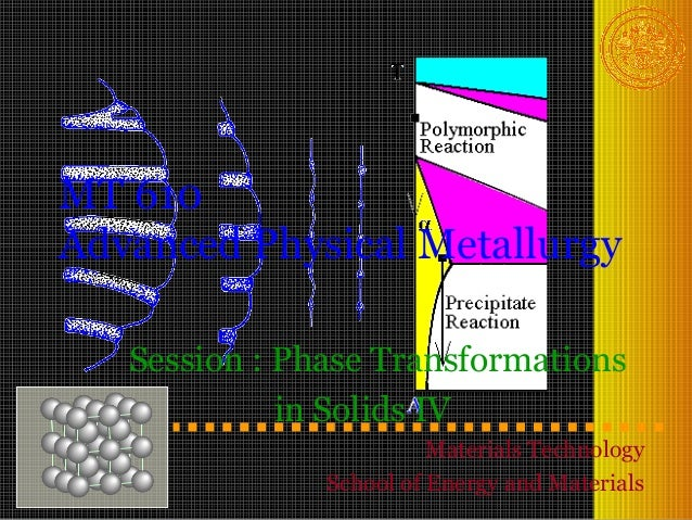 MT 610Advanced Physical Metallurgy   Session : Phase Transformations             in Solids IV                         Mate...