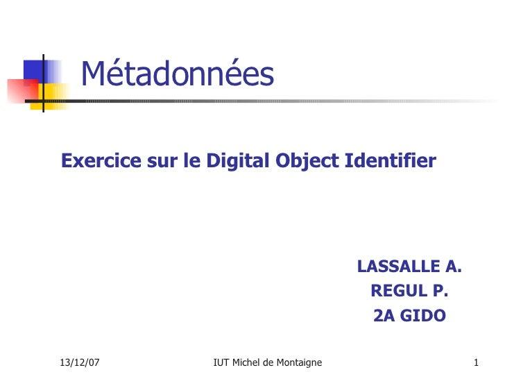 Métadonnées LASSALLE A. REGUL P. 2A GIDO Exercice sur le Digital Object Identifier