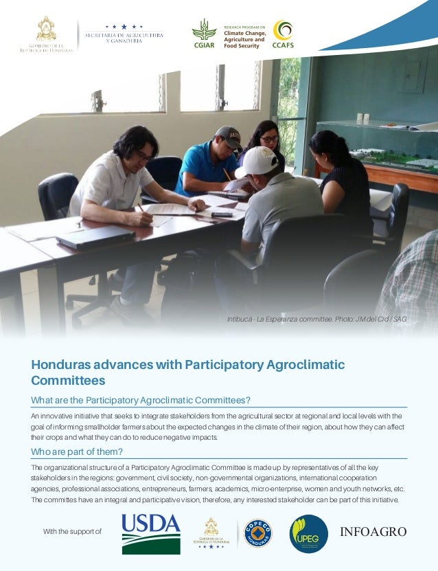 What are the Participatory Agroclimatic Committees? An innovative initiative that seeks to integrate stakeholders from the...