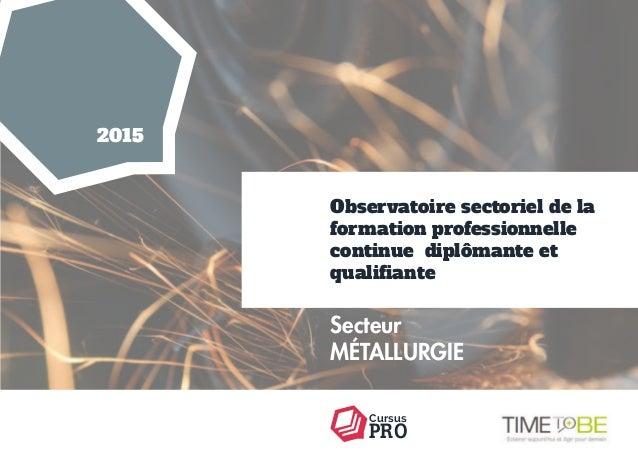 PRO Cursus Secteur MÉTALLURGIE Observatoire sectoriel de la formation professionnelle continue diplômante et qualifiante 2...