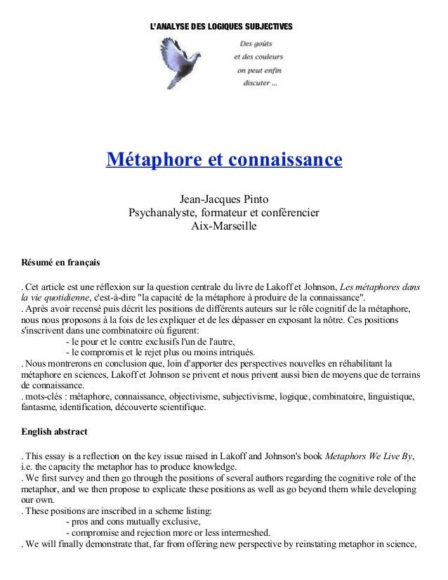 L'ANALYSE DES LOGIQUES SUBJECTIVES                      Métaphore et connaissance                                      Jea...