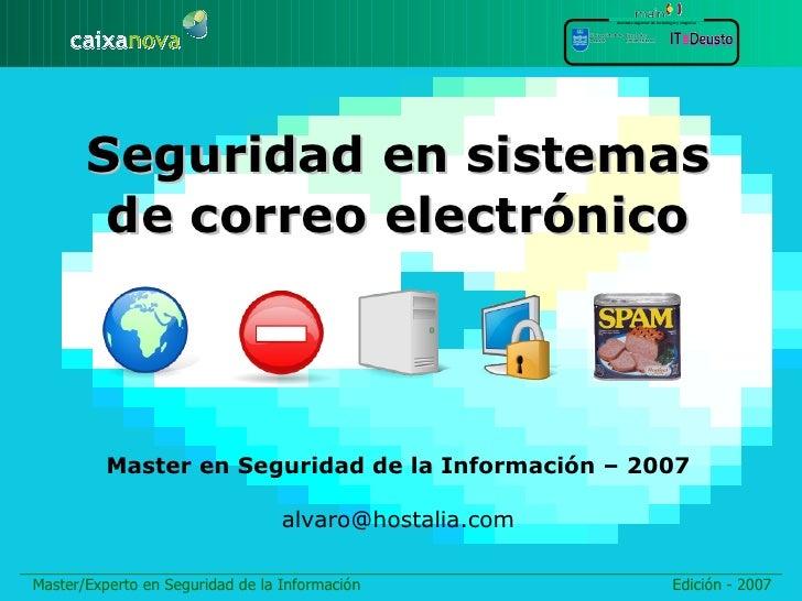instituto superior de tecnología y empresa            Seguridad en sistemas         de correo electrónico              Mas...