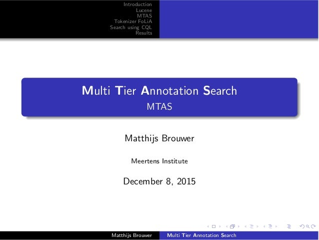 Introduction Lucene MTAS Tokenizer FoLiA Search using CQL Results Multi Tier Annotation Search MTAS Matthijs Brouwer Meert...
