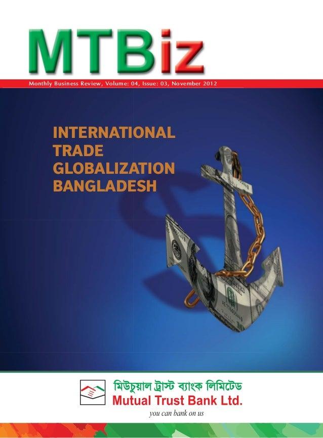 INTERNATIONALTRADEGLOBALIZATIONBANGLADESHMonthly Business Review, Volume: 04, Issue: 03, November 2012