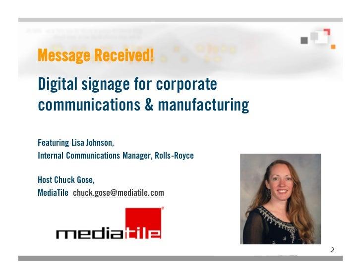 Digital Signage in Corporate Communications webinar featuring Rolls-Royce Slide 2