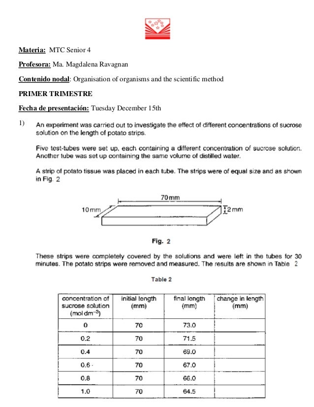 Materia: MTC Senior 4 Profesora: Ma. Magdalena Ravagnan Contenido nodal: Organisation of organisms and the scientific meth...