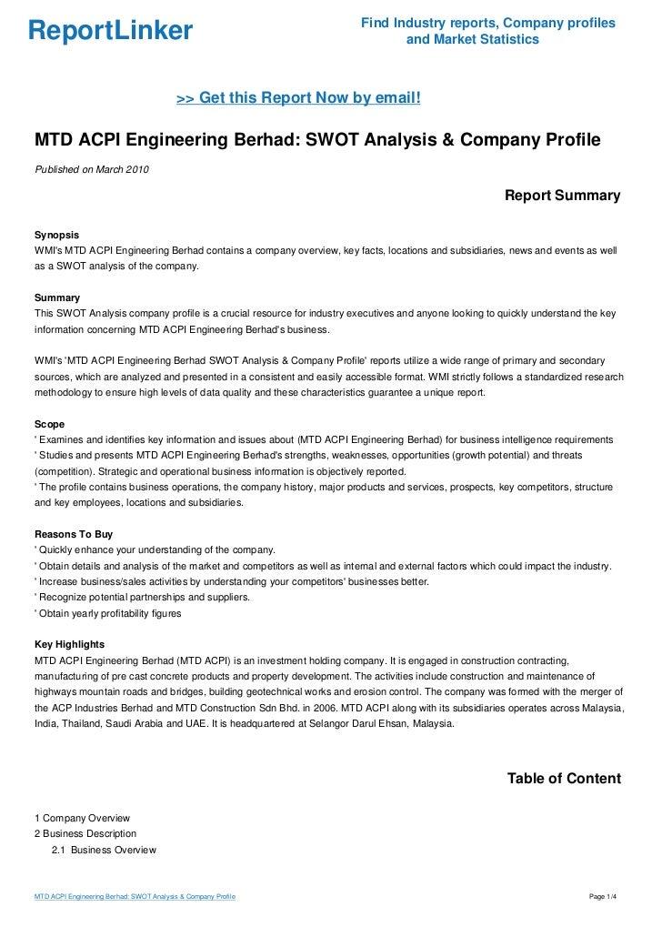 MTD ACPI Engineering Berhad: SWOT Analysis & Company Profile