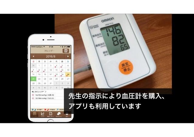 先生の指示により血圧計を購入、 アプリも利用しています