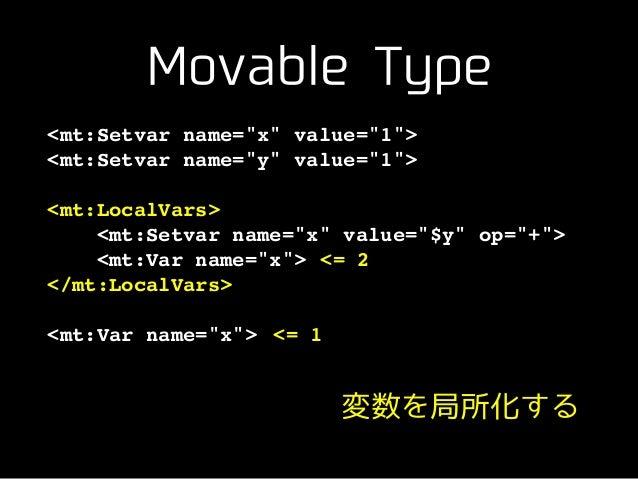 "Movable Type <mt:Setvar name=""x"" value=""1"">! <mt:Setvar name=""y"" value=""1"">! ! <mt:LocalVars>! <mt:Setvar name=""x"" value=""..."
