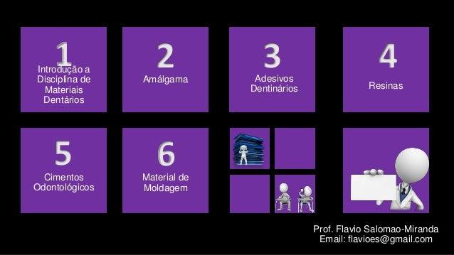 Introdução aDisciplina deMateriaisDentários1 2 3 45 6Amálgama AdesivosDentinários ResinasCimentosOdontológicosMaterial deM...