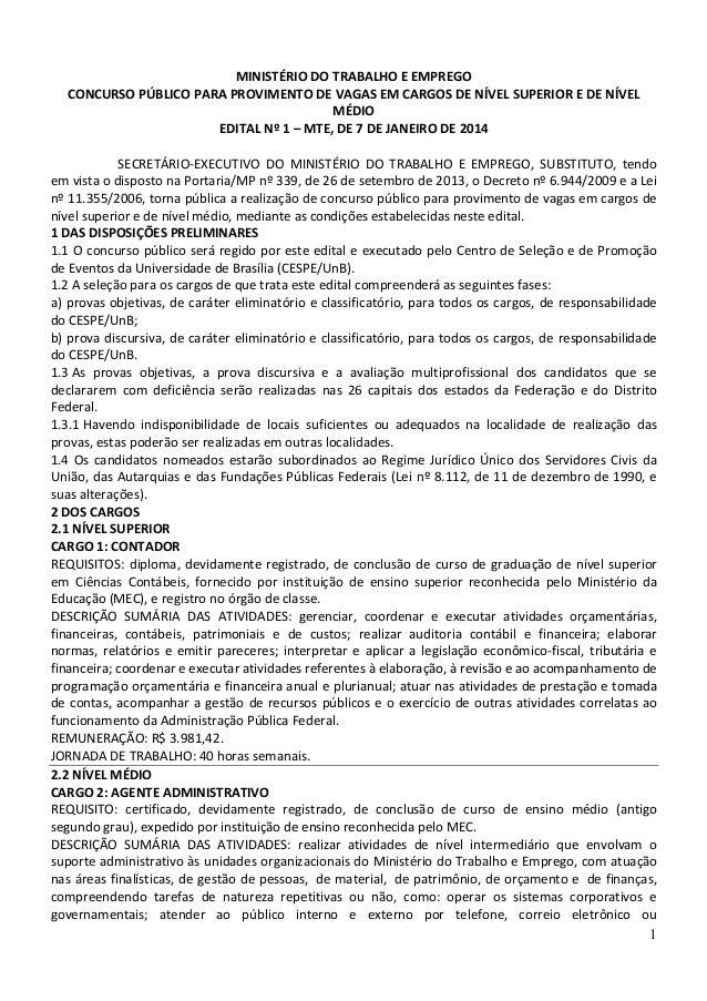 MINISTÉRIO DO TRABALHO E EMPREGO CONCURSO PÚBLICO PARA PROVIMENTO DE VAGAS EM CARGOS DE NÍVEL SUPERIOR E DE NÍVEL MÉDIO ED...