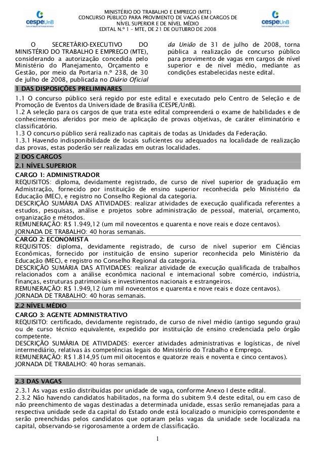 MINISTÉRIO DO TRABALHO E EMPREGO (MTE) CONCURSO PÚBLICO PARA PROVIMENTO DE VAGAS EM CARGOS DE NÍVEL SUPERIOR E DE NÍVEL MÉ...