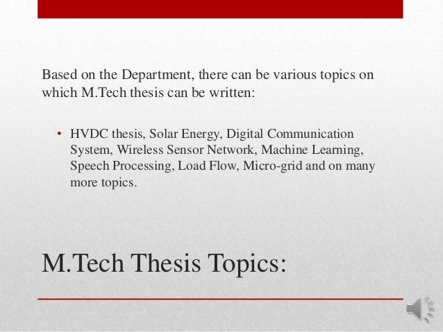 M.tech thesis in electronics