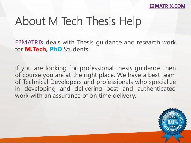M tech thesis help in chandigarh |
