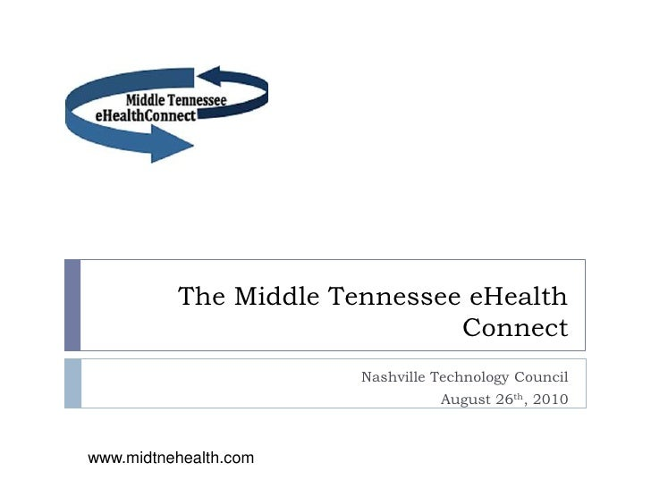 The Middle Tennessee eHealth Connect<br />Nashville Technology Council<br />August 26th, 2010<br />www.midtnehealth.com<br />