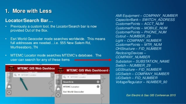 Esri Electric & Gas GIS Conference 2015 1. More with Less Locator/Search Bar… • Previously a custom tool, the Locator/Sear...