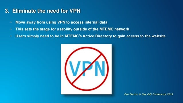 Esri Electric & Gas GIS Conference 2015 3. Eliminate the need for VPN • Move away from using VPN to access internal data •...