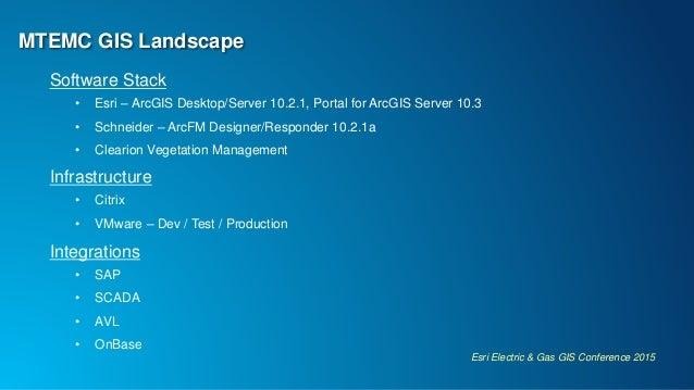 Esri Electric & Gas GIS Conference 2015 MTEMC GIS Landscape Software Stack • Esri – ArcGIS Desktop/Server 10.2.1, Portal f...