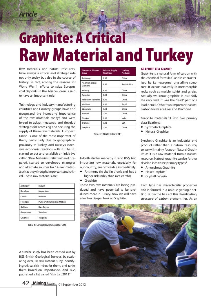 Articlewww.madencilik-turkiye.comGraphite: A CriticalRaw Material and TurkeyRaw materials and natural resources,          ...