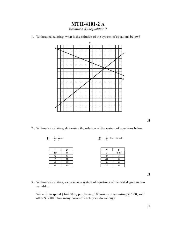 MTH-4101-2 A                              Equations & Inequalities II1. Without calculating, what is the solution of the s...