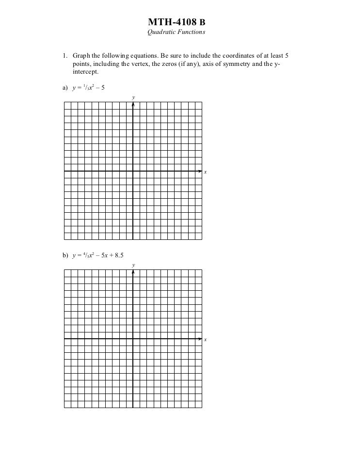 MTH-4108 B                              Quadratic Functions1. Graph the following equations. Be sure to include the coordi...