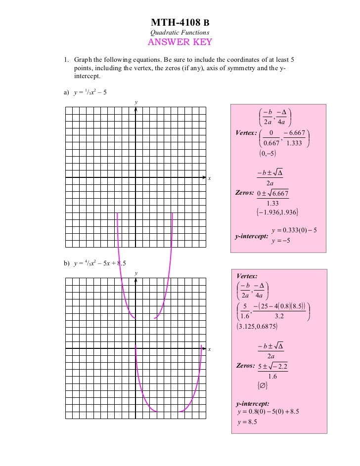 MTH-4108 B                              Quadratic Functions                              ANSWER KEY1. Graph the following ...
