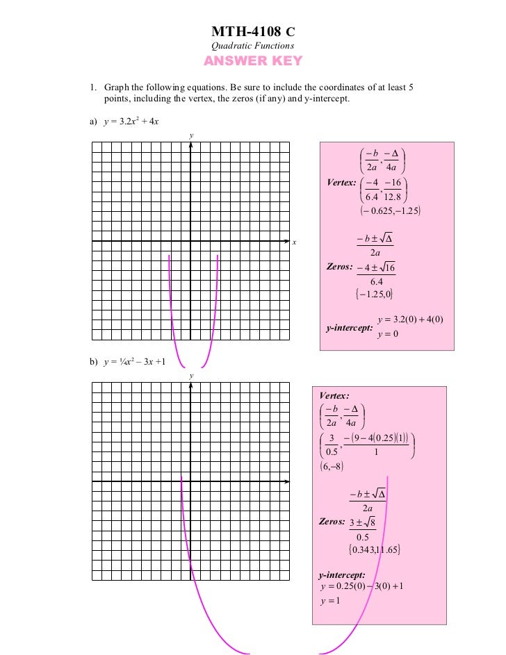 MTH-4108 C                              Quadratic Functions                             ANSWER KEY1. Graph the following e...