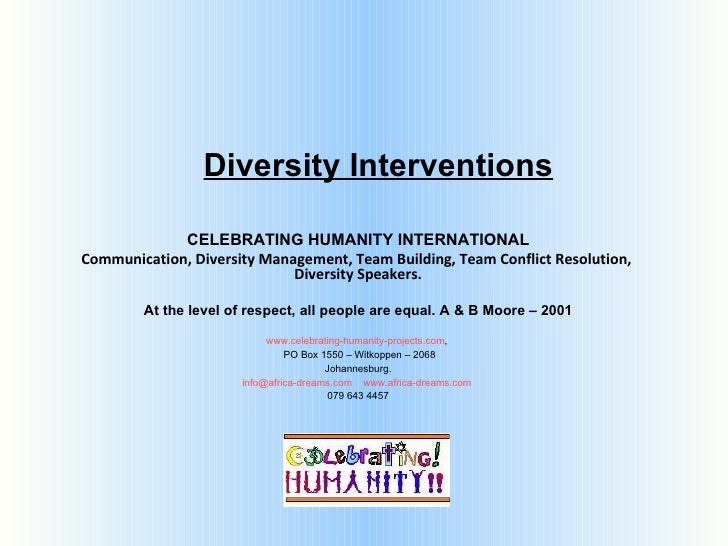 Diversity Interventions CELEBRATING HUMANITY INTERNATIONAL Communication, Diversity Management, Team Building, Team Confli...