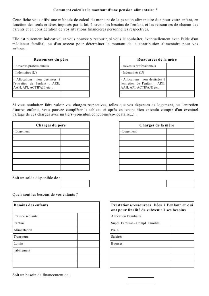 Methode Calcul Pension Alimentaire 2