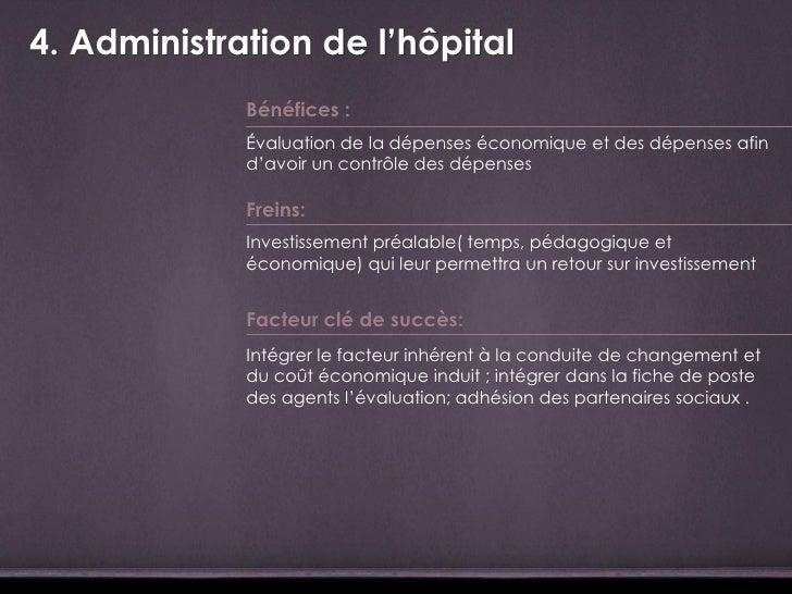 4. Administration de l'hôpital             Bénéfices :             Évaluation de la dépenses économique et des dépenses af...